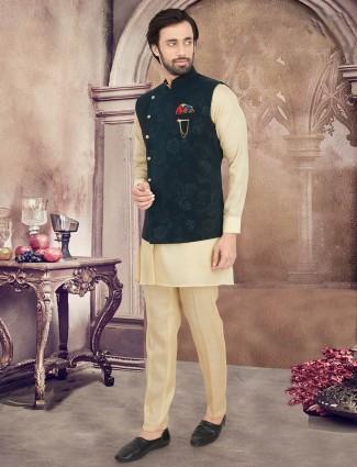 Green and beige silk mens waistcoat set