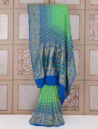 Green and blue color bandhej saree