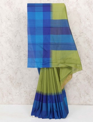 Green and blue cotton silk saree