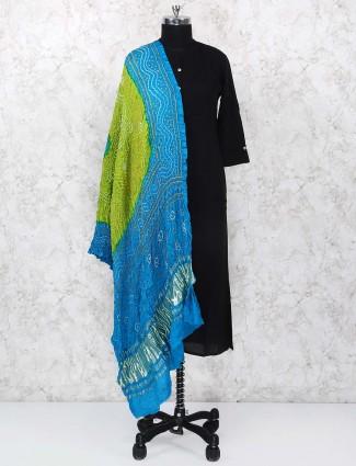 Green and blue dupatta in gajji silk