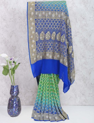Green and blue gharchola hue bandhani saree in georgette