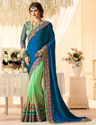 Green and blue half and half saree