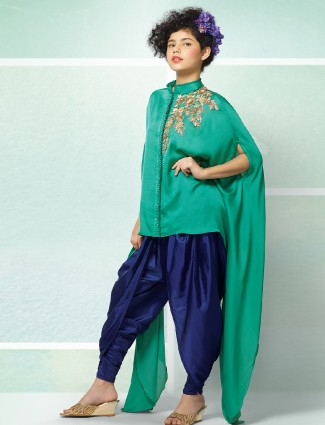 Green and blue party wear dhoti suit