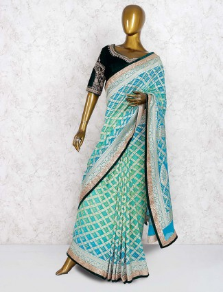 Green and blue georgette saree with ready made blouse