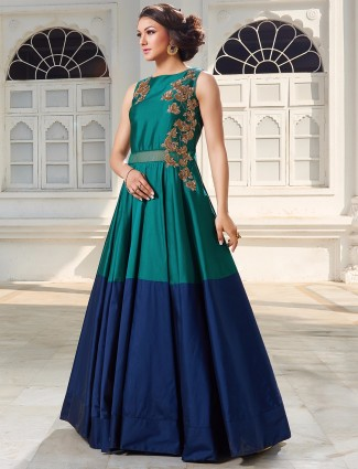 Green and blue silk anarkali suit