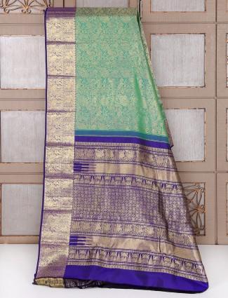 Green and blue silk bridal saree