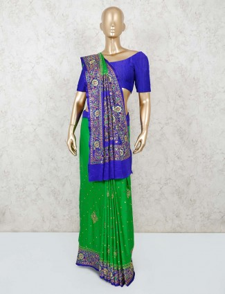 Green and blue thread worked saree in satin silk