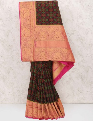 Green and brown semi silk festive saree