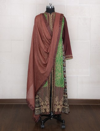 Green and brown silk palazzo suit