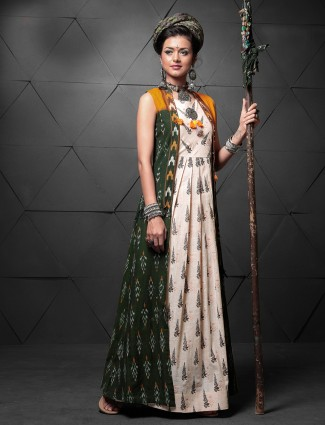 Green and cream color long kurti
