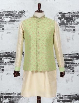 Green and cream color waistcoat set