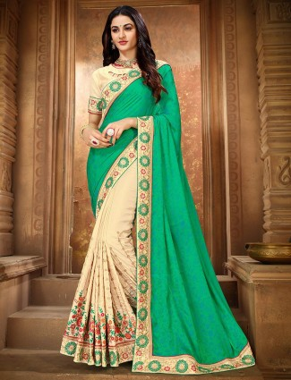 Green and cream embroidered half and half saree in vichitra silk