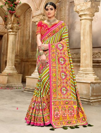 Green and cream multicolor leheriya pure patola silk saree for wedding