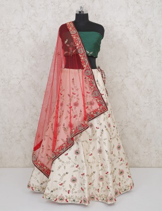 Green and cream raw silk semi stitched lehenga choli