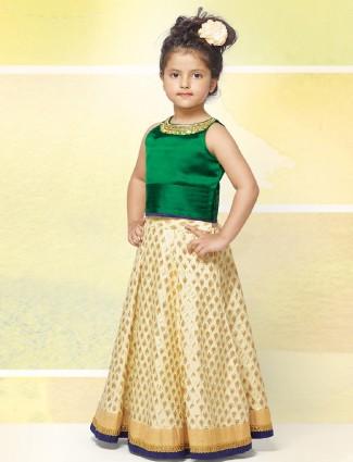 Green and cream silk lehenga choli for wedding