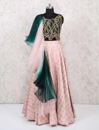 Green and light pink lehenga choli