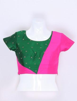 Green and magenat raw silk ready made blouse