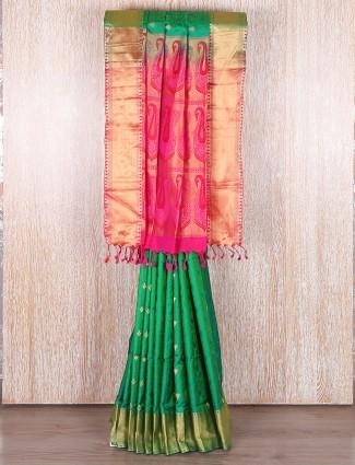 Green and magenta bangalore silk wedding saree