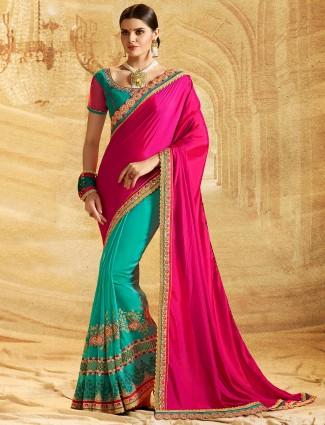 Green and magenta half and half saree