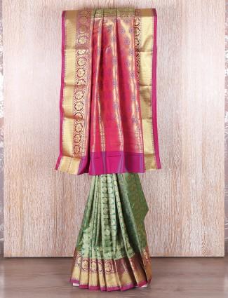 Green and magenta kanjivaram silk saree