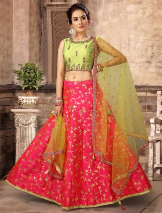 Green and magenta silk lehenga choli