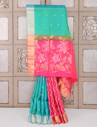 Green and magenta wedding function silk saree