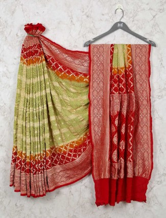 Green and Maroon Bandhej Wedding Wear Saree