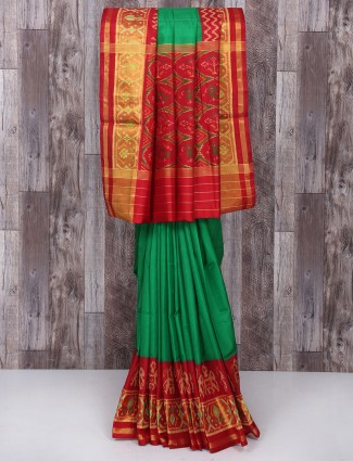 Green and maroon color silk fabric saree