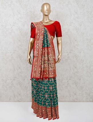 Green and maroon designer patola silk saree
