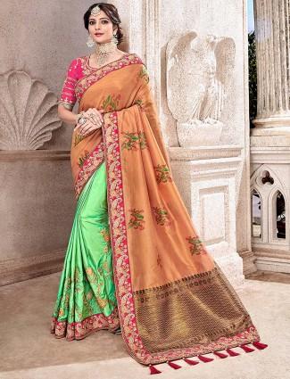 Green and peach semi silk half and half saree