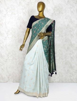 Green and pista green half and half saree in semi silk fabric