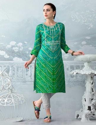 Green and rama green thread work kurti set in cotton