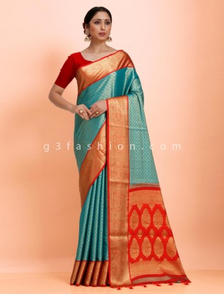 Green and red art kanjivaram silk wedding wear designer sari