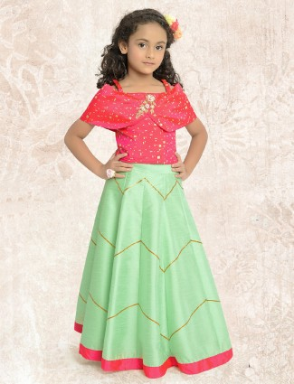 Green and red party wear lehenga choli