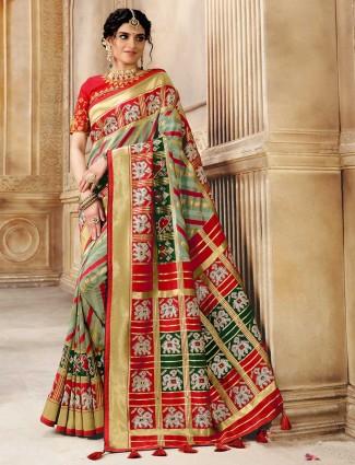 Green and red pure patola silk wedding saree