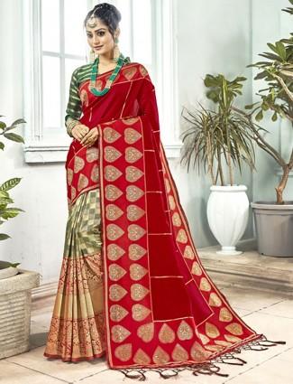 Green and red semi silk wedding half and half saree