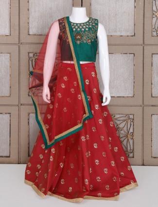 Green and red silk lehenga choli for girls