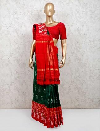 Green and red wedding wear saree in hydrabadi patola silk