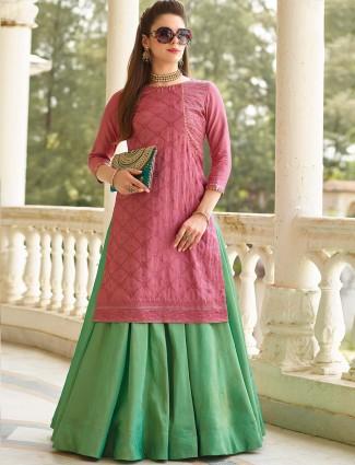 Green and rose pink cotton silk lehenga cum salwar suit