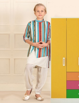 Green and stripe cotton double layer kurta suit