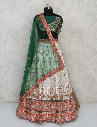 Green and white designer semi stitched bridal lehenga choli