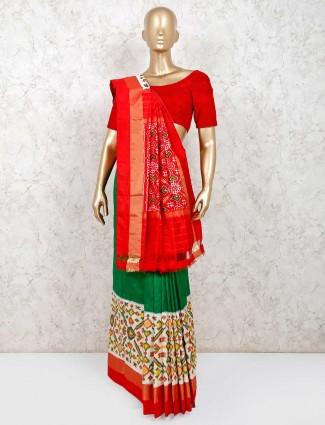 Green and white hydrabadi patola silk saree for wedding