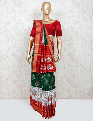 Green and white saree in hydrabadi patola silk