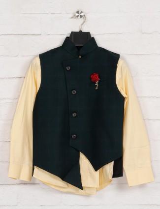 Green and yellow checks terry rayon waistcoat