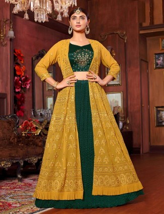 Green and yellow georgette lehenga choli indo western style