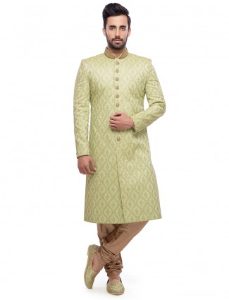 Green attractive silk wedding wear sherwani