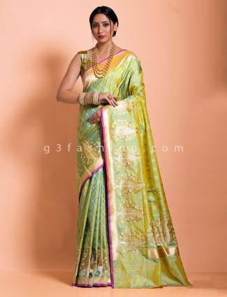 Green banarasi silk exclusive thread zari woven saree