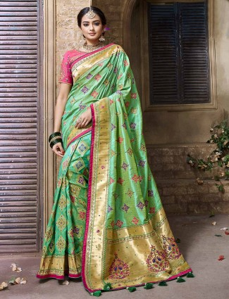Green banarasi silk fabric wedding saree