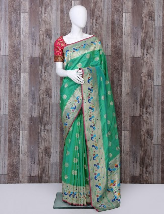 Green banarasi silk paithani saree