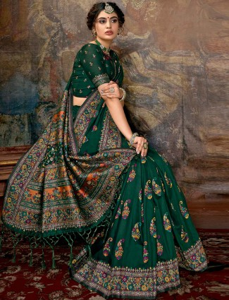 Green banarasi silk saree design with thread weaving